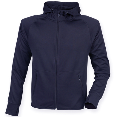 Hoodie With Reflective Tape In Navy