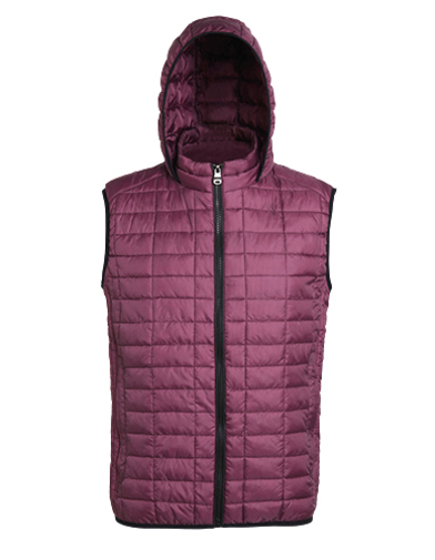 Honeycomb Hooded Gilet In Mulberry