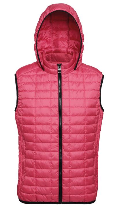 Honeycomb Hooded Gilet In Red