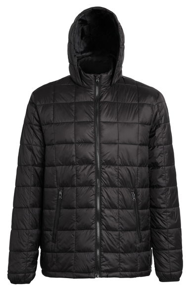 Box Quilt Hooded Jacket In Black
