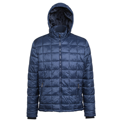 Box Quilt Hooded Jacket In Navy
