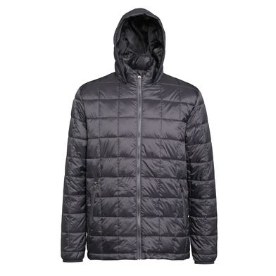 Box Quilt Hooded Jacket In Steel
