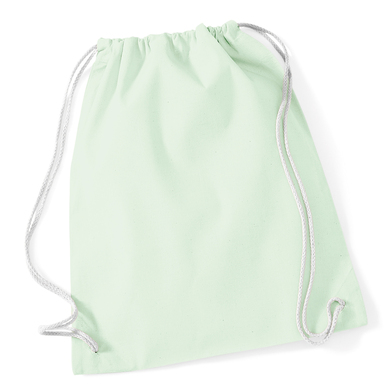 Cotton Gymsac In Pastel Mint/White
