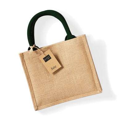 Jute Mini Gift Bag In Natural/Forest Green