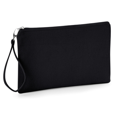 Canvas Wristlet Pouch In Black / Black