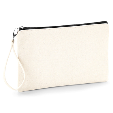 Canvas Wristlet Pouch In Natural / Black