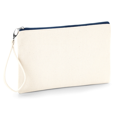 Canvas Wristlet Pouch In Natural / Navy