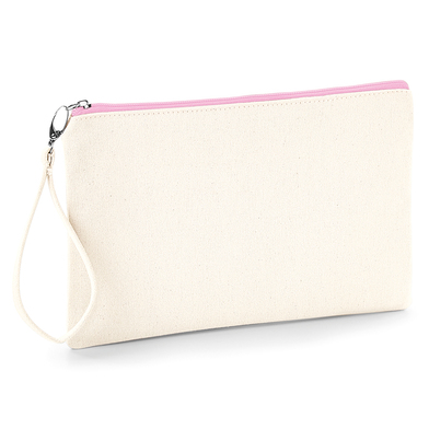 Canvas Wristlet Pouch In Natural / Pink