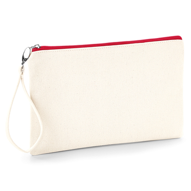 Canvas Wristlet Pouch In Natural / Red