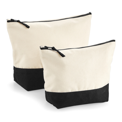 Dipped Base Canvas Accessory Bag In Natural / Black