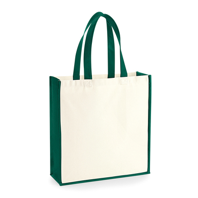 Gallery Canvas Tote In Natural/ Bottle Green