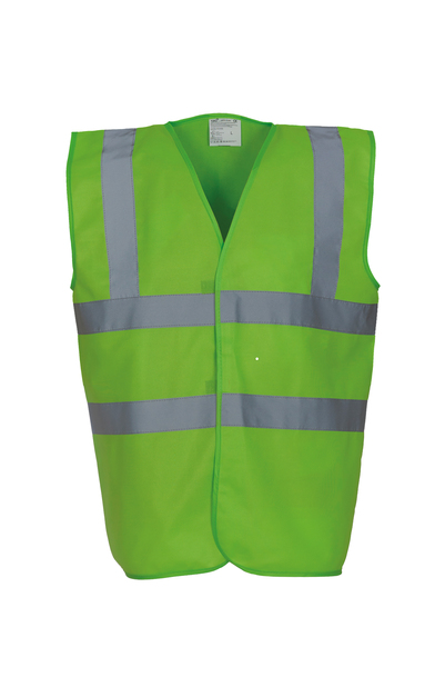 Hi-vis 2-band-and-braces Waistcoat (HVW100) In Lime