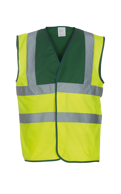 Hi-vis 2-band-and-braces Waistcoat (HVW100) In Paramedic Green/Yellow
