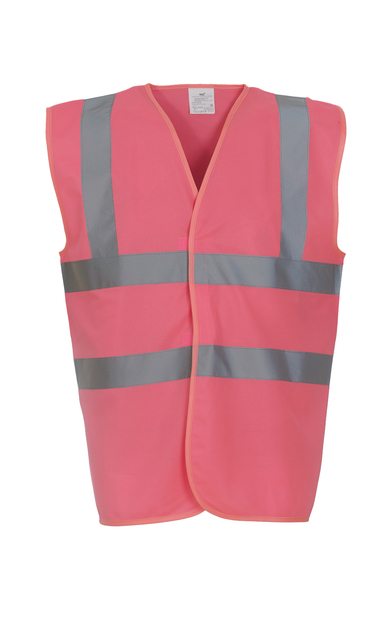 Hi-vis 2-band-and-braces Waistcoat (HVW100) In Pink