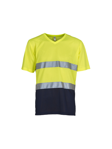 Hi-vis Top Cool Super Light V-neck T-shirt (HVJ910) In Yellow / Navy