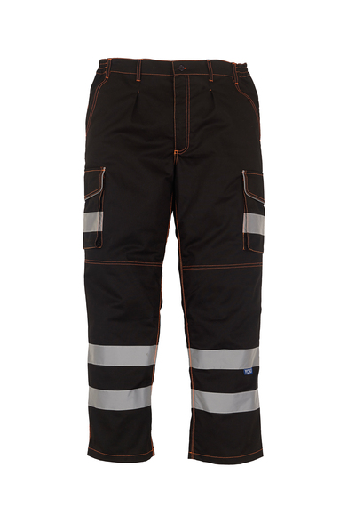 Hi-vis Polycotton Cargo Trousers With Kneepad Pockets (HV018T/3M) In Black