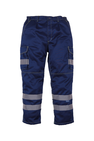 Hi-vis Polycotton Cargo Trousers With Kneepad Pockets (HV018T/3M) In Navy