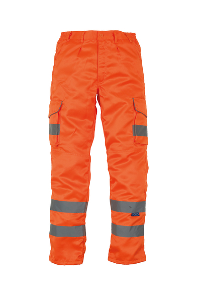Hi-vis Polycotton Cargo Trousers With Kneepad Pockets (HV018T/3M) In Orange