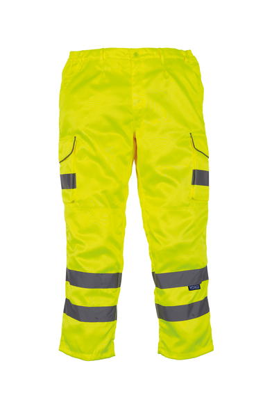 Hi-vis Polycotton Cargo Trousers With Kneepad Pockets (HV018T/3M) In Yellow