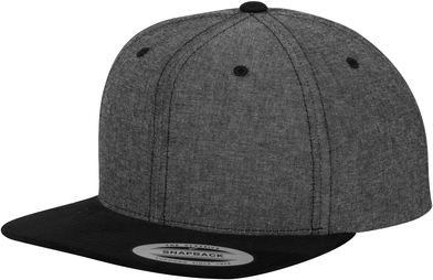 Chambray-suede Snapback (6089CH) In Black/Black