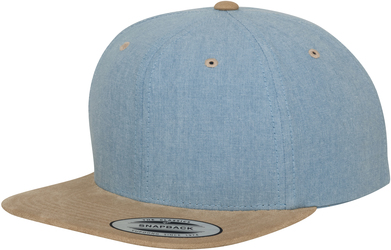 Chambray-suede Snapback (6089CH) In Blue/Beige